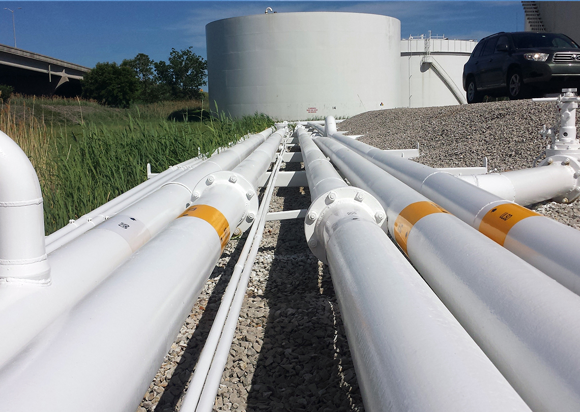 Industrial Dry-Fall 2-Part Epoxy & 2-Part Urethane Paint for pipes and pipe racks - Cenex Pipeline Terminal