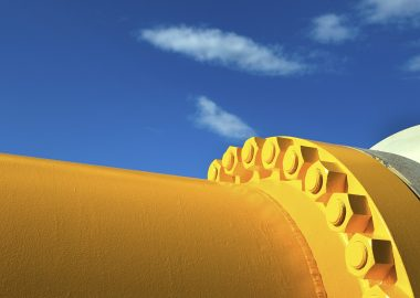 Oil Refinery Piping system in contrast with a blue sky