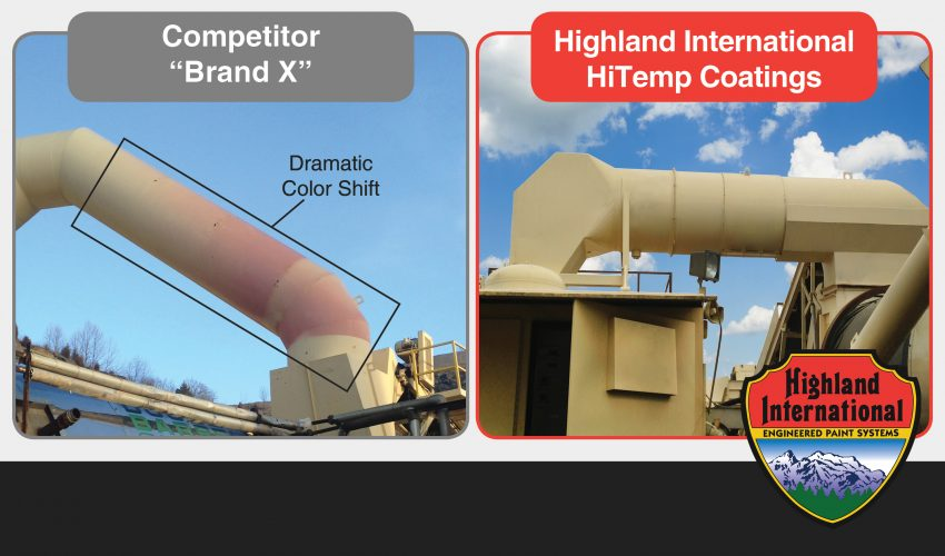 Highland International HiTemp High Heat/ High Temperature Paint/Coatings vs Competitor Product